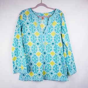 Lucy Womens Boho Embroidered Blouse Shirt Tunic M
